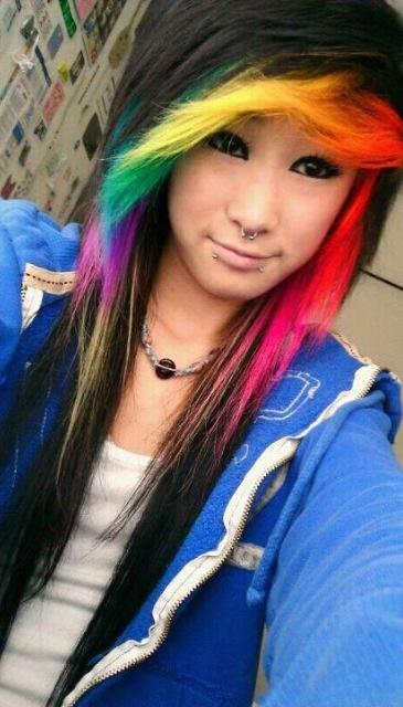 Rainbow hair color ideas black with rainbow bangs
