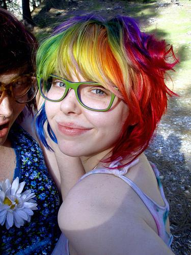 Rainbow hair color ideas cropped bob