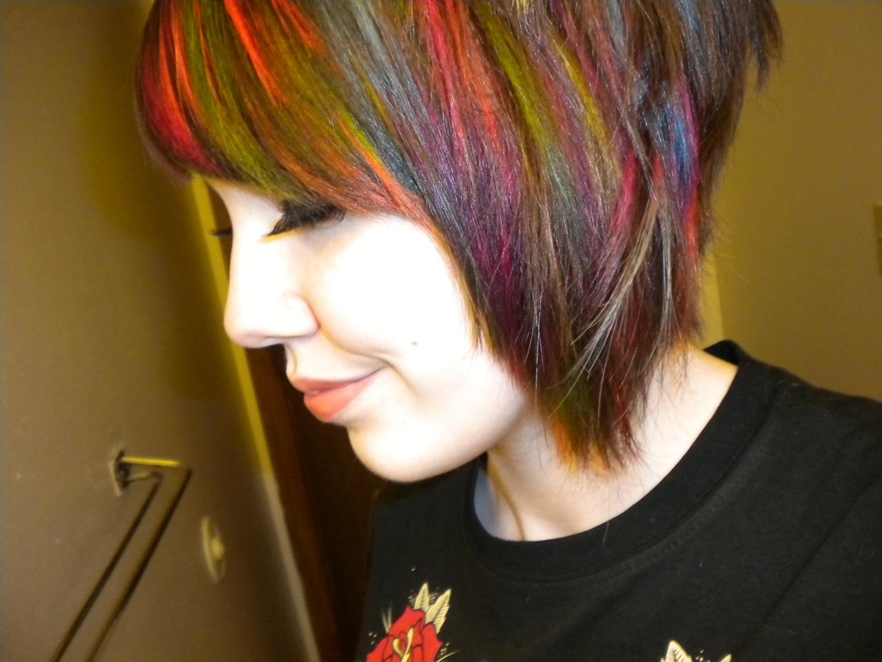 Rainbow hair color ideas cropped up