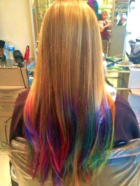 Rainbow hair color ideas golden ombre