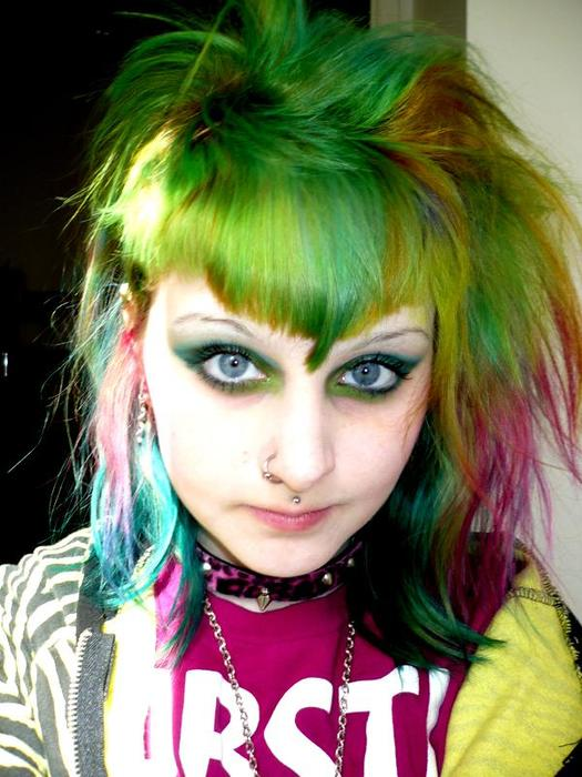 Rainbow hair color ideas layered with bangs