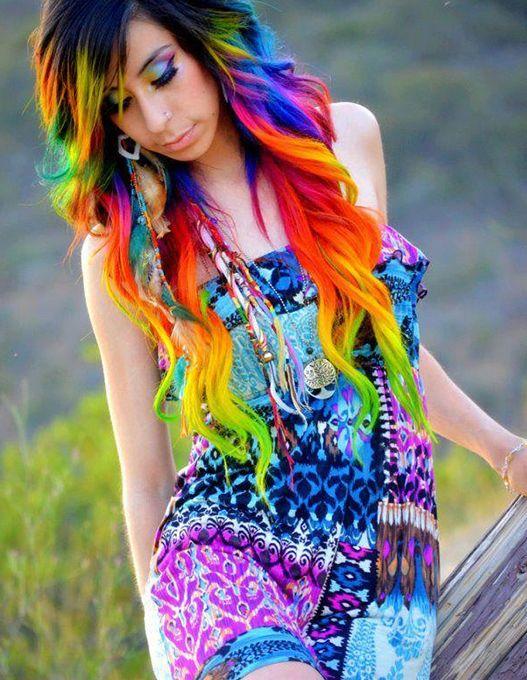 Rainbow hair color ideas long waves
