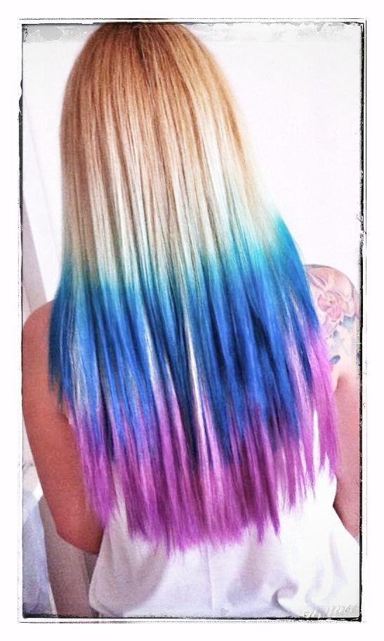 Rainbow hair color ideas ombre with rainbow