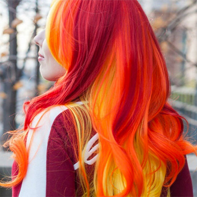 Rainbow hair color ideas orange blow