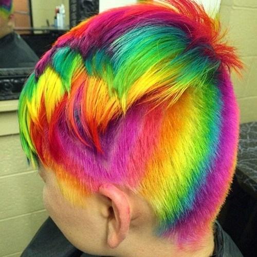 Rainbow hair color ideas pixie