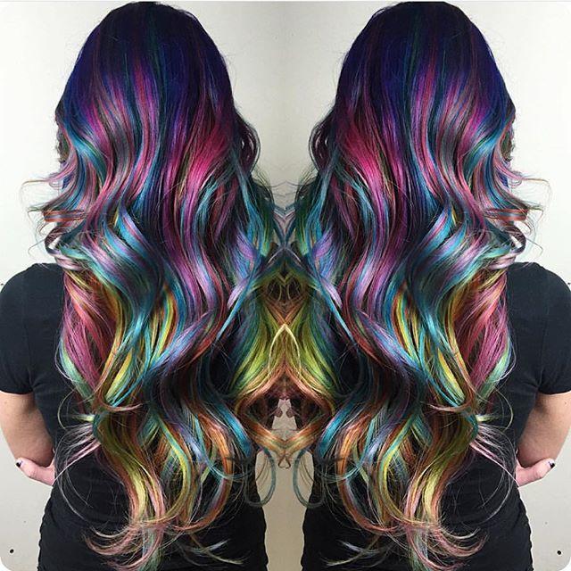 Rainbow hair color ideas retro
