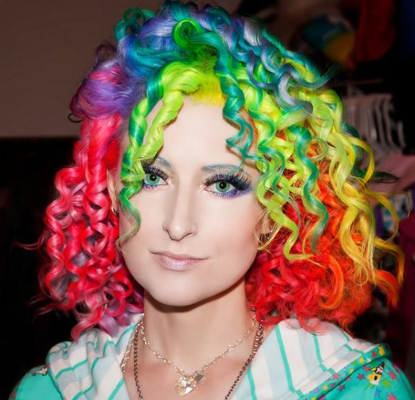 Rainbow hair color ideas short curls