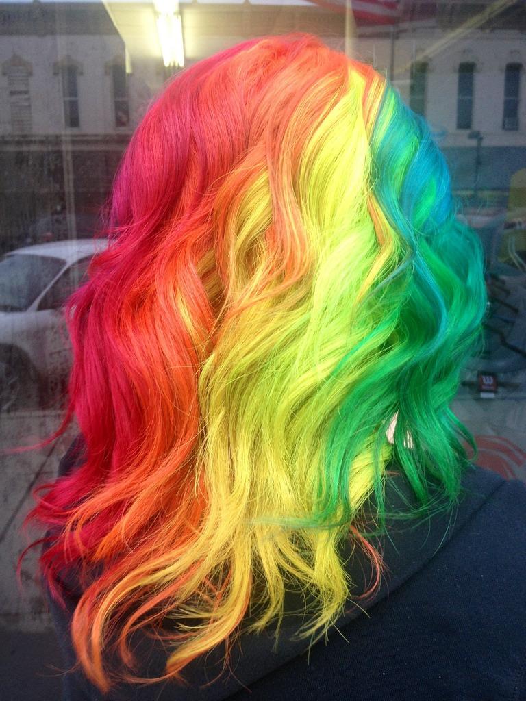 Rainbow hair color ideas three shade
