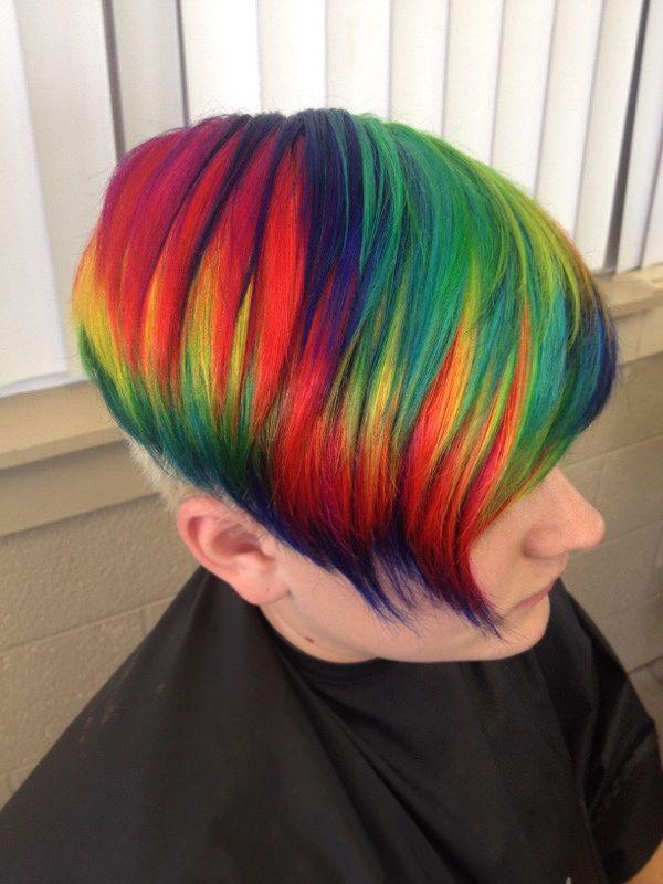 Rainbow hair color ideas undercut