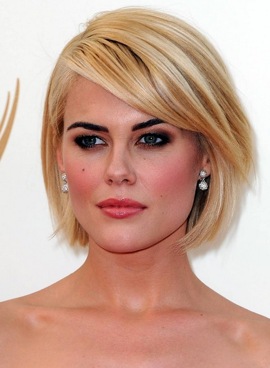 Short Wedge Hairstyles Side parted blonde bob cut