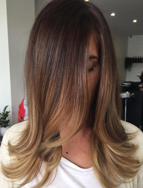 brown hair with caramel highlights Flicked out blonde ends