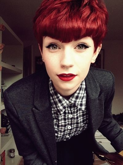 cute hairstyles for girls with short hair Red pixie