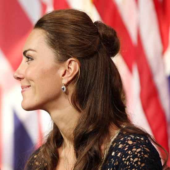 kate middleton hairstyles half-up bun