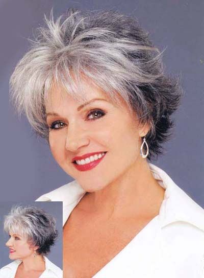 short hairstyle for women over 50 Asymmetric silver cut