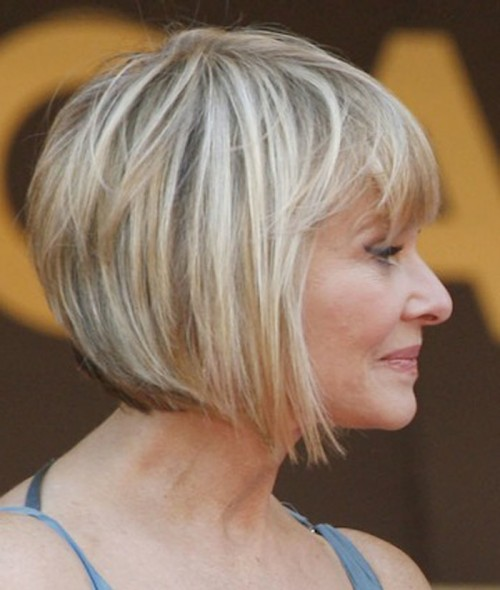 short hairstyle for women over 50 Bob and bangs