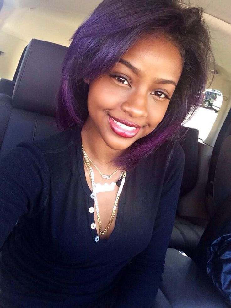 short hairstyles for black women Purple bangs with gold crown