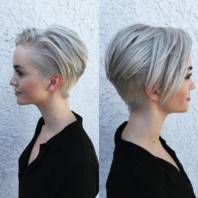 undercut hairstyles for women Platinum under shaved pixie