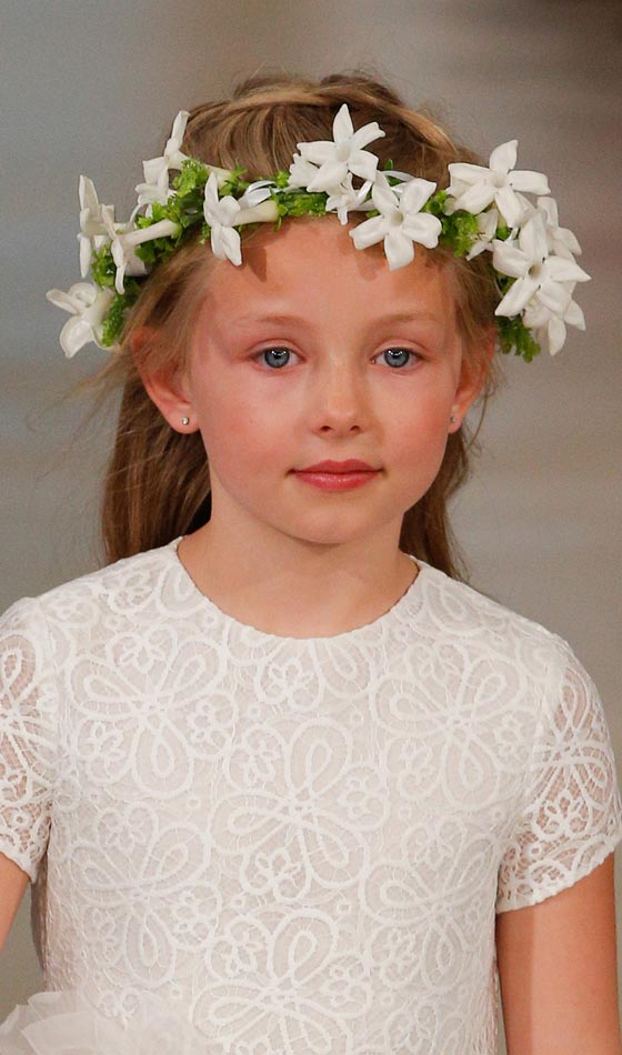 Beautiful Flower Girl Hairstyles Braided Half Updos with Flower Crown