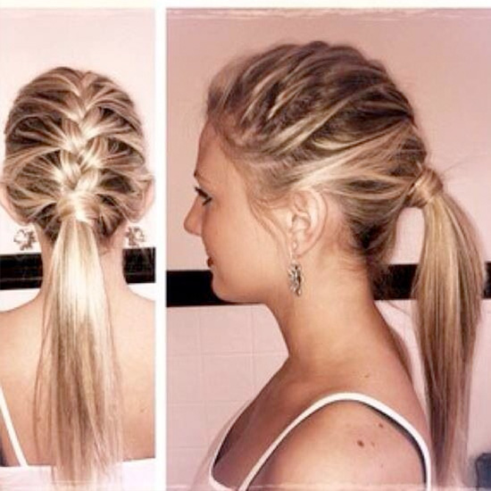 Braided hairstyles suitable for prom night Half French braid