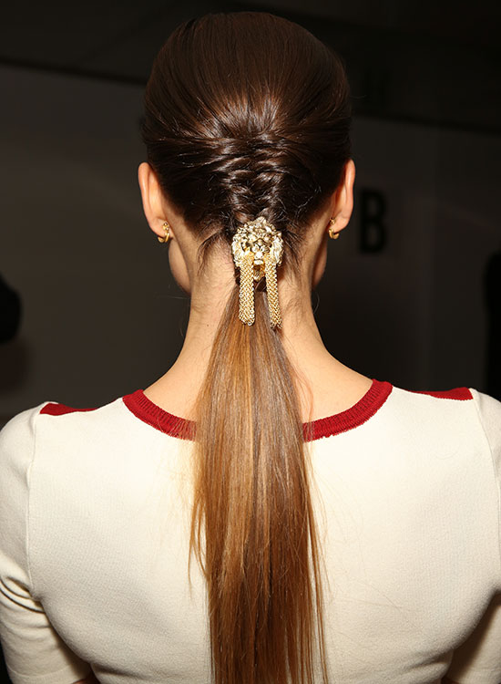 Braided hairstyles suitable for prom night Half braided ponytail