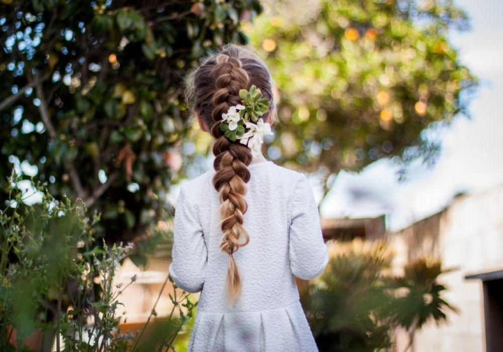 Braids hairtyles with Flowers Dutch Pancake Braid