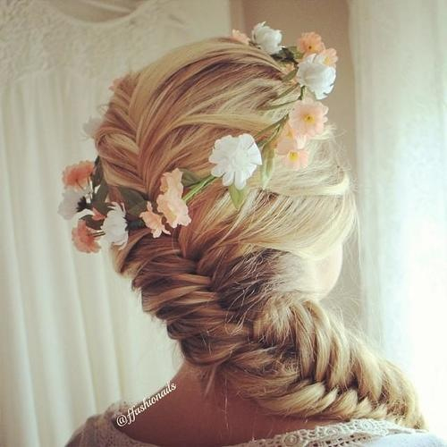 Braids Hairstyles with Flowers Fishtail Braid