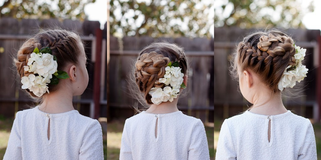 Braids hairstyles with Flowers French Braid on both sides