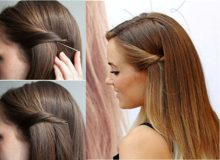 Easy Hairstyles which can be done in Seconds The twist and side pinned