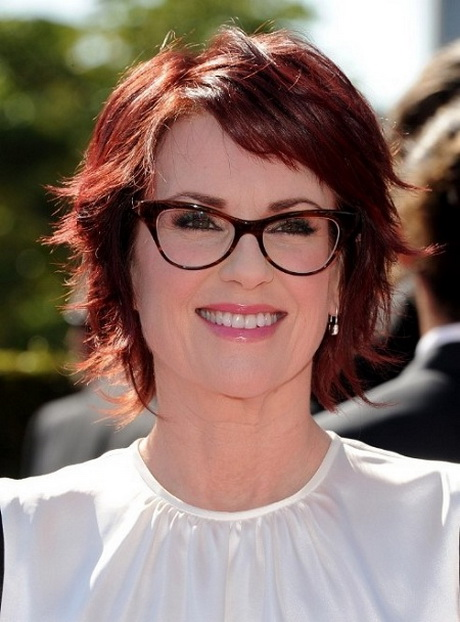 Hairstyles for Women above 50 with Fine Hair and Glasses red layered bob