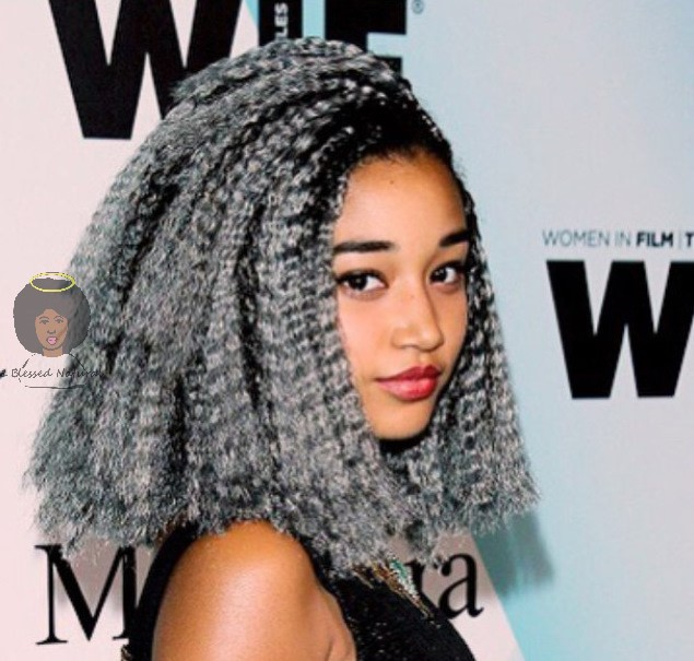 Natural hairstyles by the celebs Amandla Steinberg Grey hair