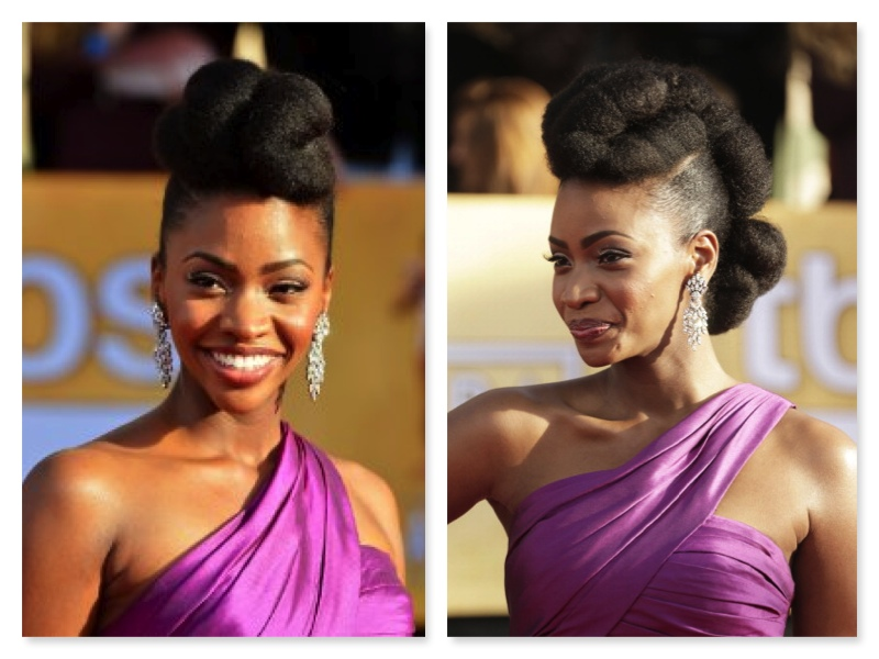 Natural hairstyles by the celebs are Teyonah Parris natural updo