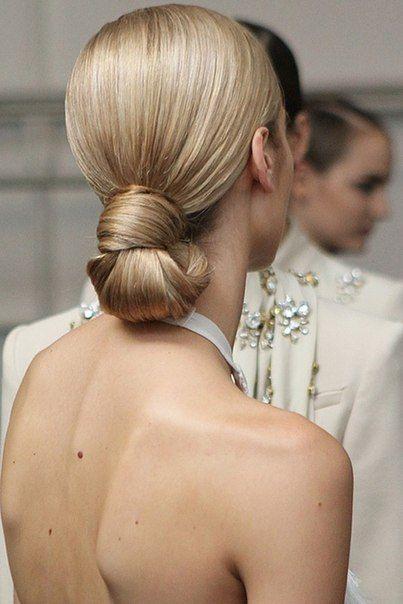 easy hairstyles for long hair Low bun
