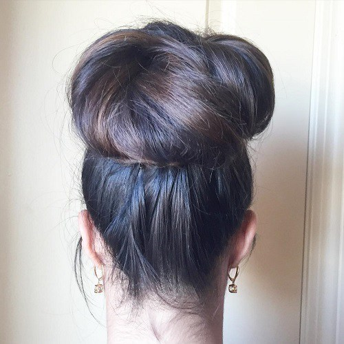 easy hairstyles for long thick hair High top knot