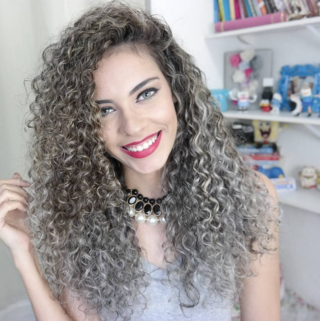 grey hairstyles for women Black hair with Silver curls