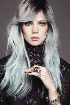 grey hairstyles for women Black hair with silver bangs