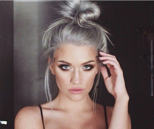 grey hairstyles for women Silver bun