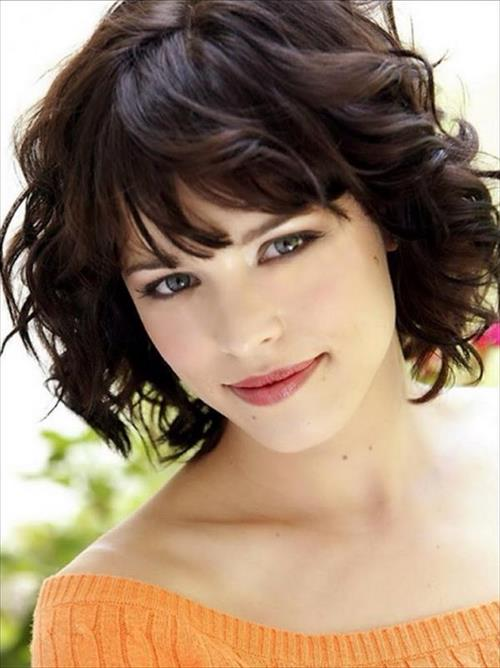 short hairstyles with bangs curly bob with curly bangs