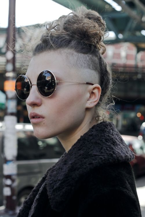 top knot hairstyles Side shaved top knot