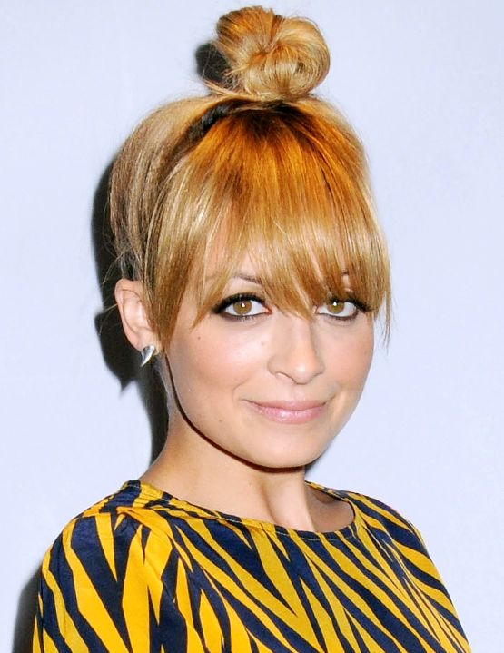 top knot hairstyles for women Top knot with straight bangs