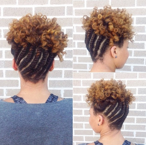 22. Cute Hairstyles for Black Girls Braided Updo Hairstyle with Curls for Short Hairs