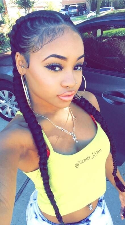 34. Cute Hairstyles for Black Girls Pigtail Braid