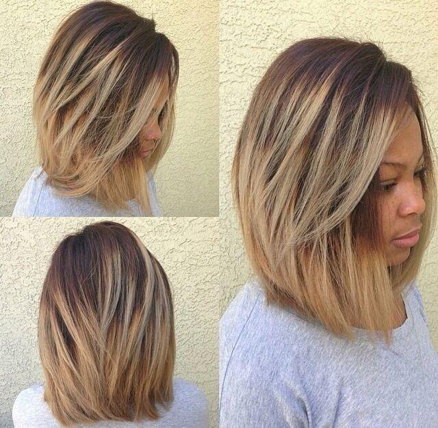 Brown hair with long bangs