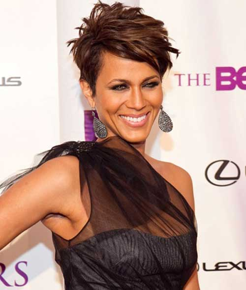 Short hairstyles for black women above 50 layered pixie cut