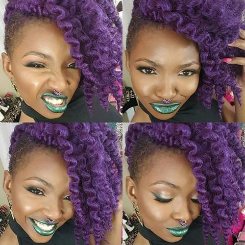 crochet braid hairstyle Purple side ponytail