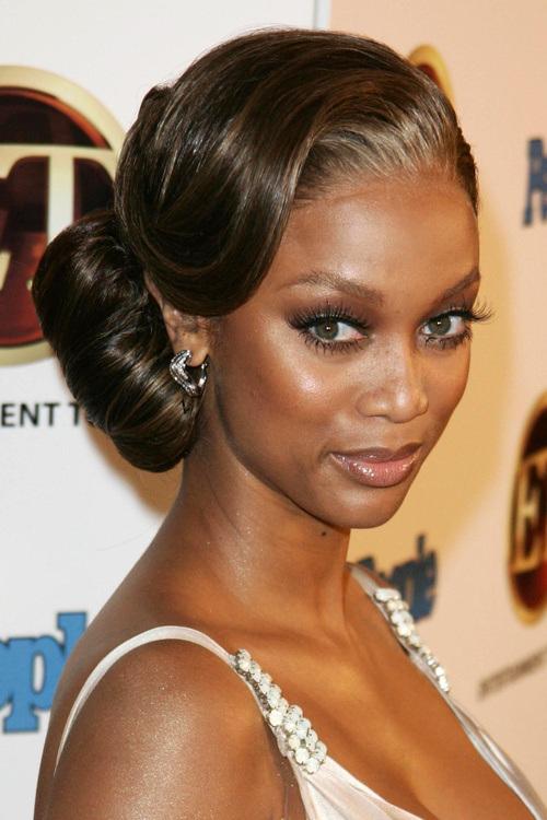 long hairstyles for black women Low messy bun