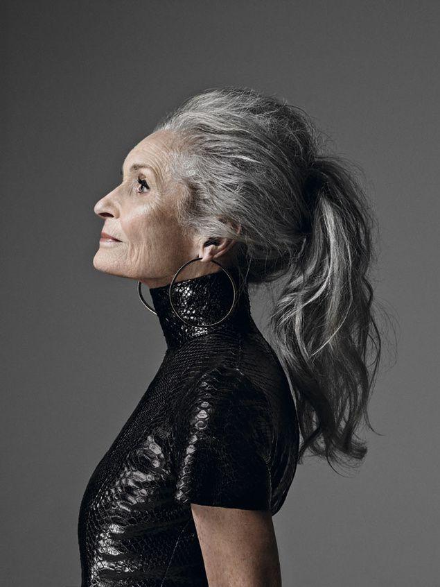 Black and white ponytail