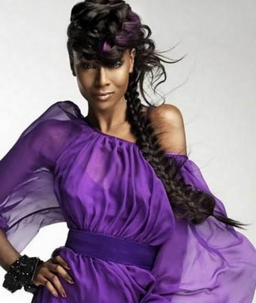Back long braid for black girls