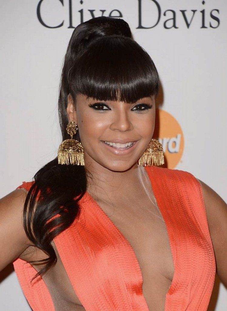 Black girl Short sized bangs on long pony