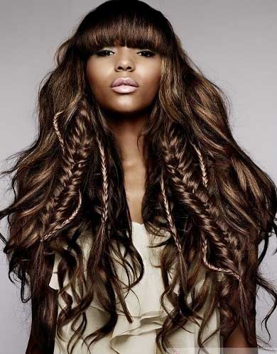 Long braids with long bangs for black girls