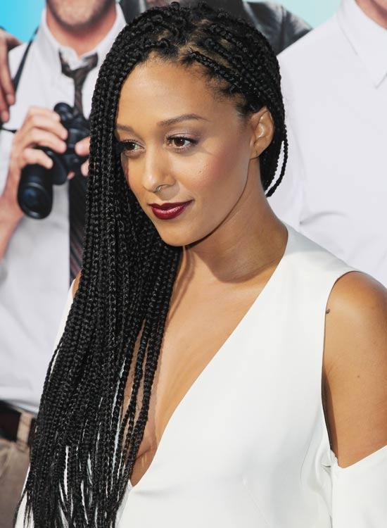 Side swept braided hair for black women